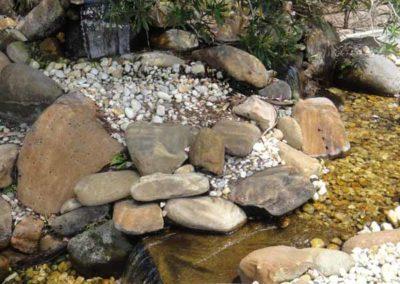 pebble waterfall fountain